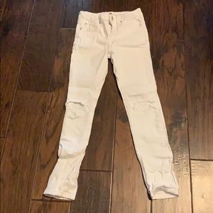7 for all mankind white distressed Skinny Jeans